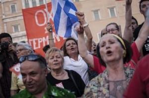 Manifestacions a Atenes per votar no al Referèndum.
