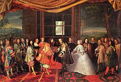 La signatura del tractat amb Lluís XIV de França i Felip IV de Castella a l'Illa dels Faisans el 1659 (Escena retratada per Laumosnier)